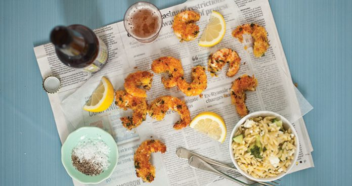Beer-fried prawns with lemon orzo Easy Food