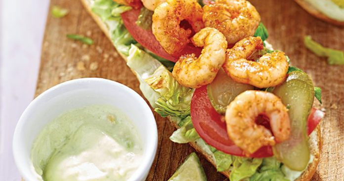 Spicy prawn bo'boys with lime avocado sauce Easy Food