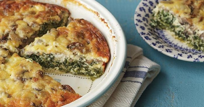 Crustless Three Cheese Mushroom And Spinach Quiche Easy Food
