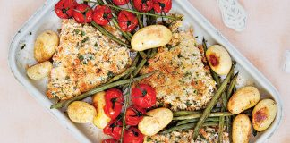 Salmon, potato and vegetable traybake Easy Food