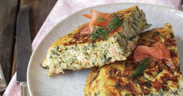 Salmon and kale frittata Easy Food