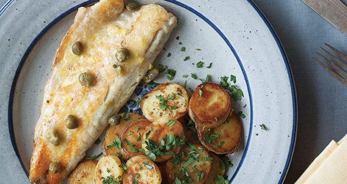Seabass with capers and sauteed potatoes Easy Food