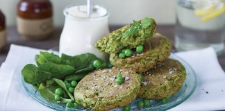 Baked pea fritters Easy Food
