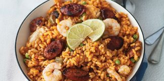 Prawn and chorizo paella Easy Food