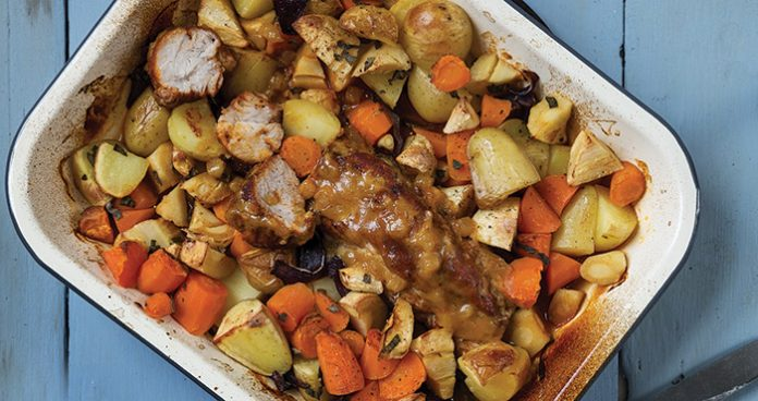 One-pan roast pork with root vegetables