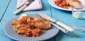 Salmon with warm tomato and shallot salsa | Easy Food