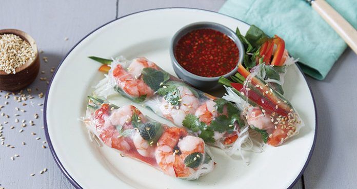 Simple prawn and cucumber spring rolls Easy Food