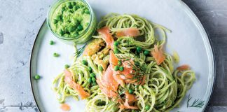 Smoked salmon spaghetti with dill and pea pesto | Easy Food