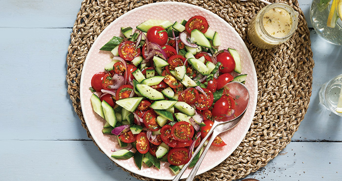 Tomato, cucumber and red onion salad | Easy Food