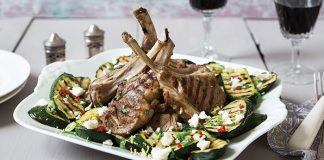Barbecued lamb chops with courgette and Feta   Easy Food