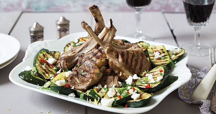 Barbecued lamb chops with courgette and Feta | Easy Food