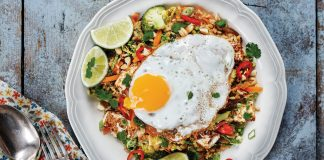 Nasi goreng, brown rice, fried egg