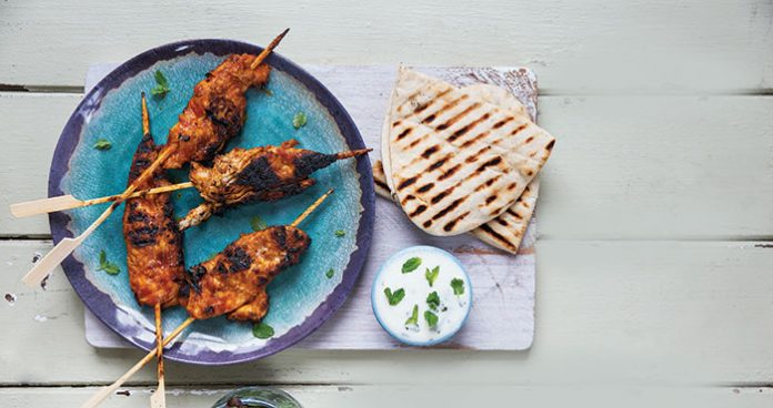 Harissa honey chicken skewers with garlic and mint yoghurt | Easy Food