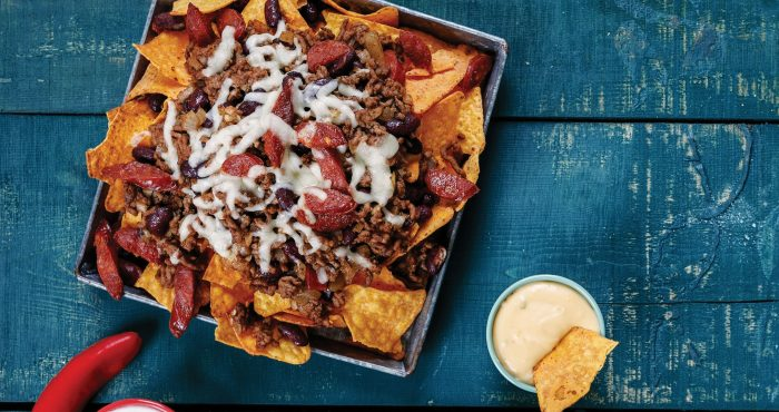 Chilli beef, cheese, nachos, sharing, party food