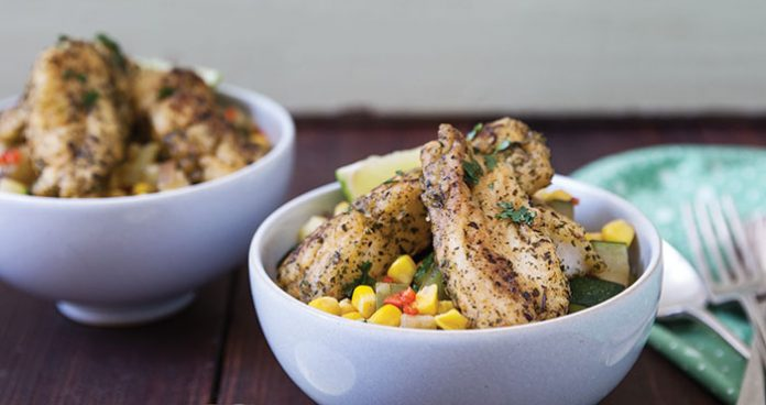Pan-fried fish with summer succotash | Easy Food