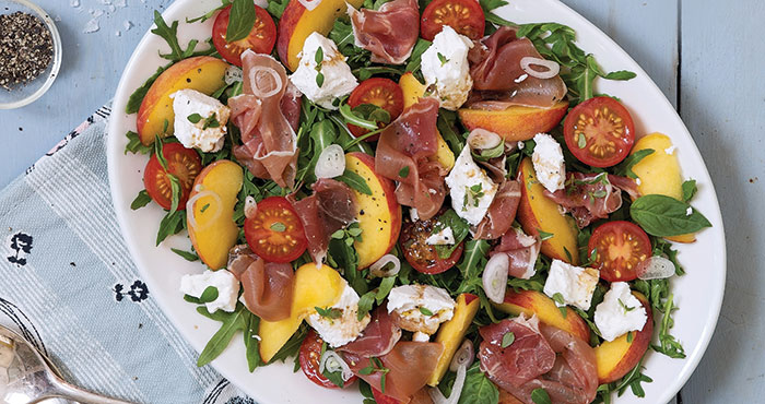 Tomato, peach, prosciutto and goat's cheese salad | Easy Food