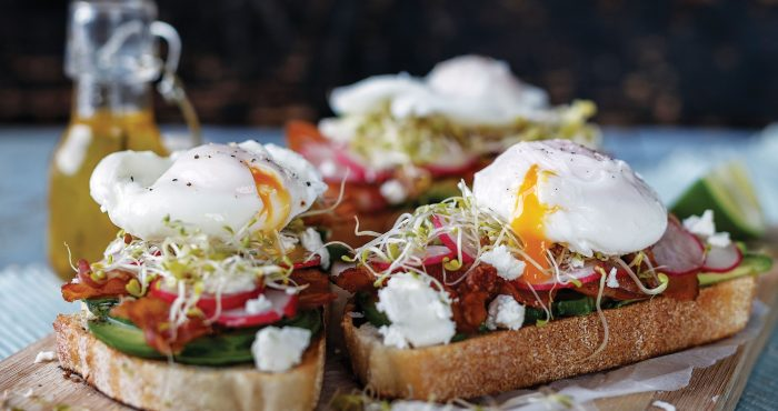 Avocado toasts, brunch, poached eggs