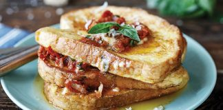 Parmesan French toast with sun-dried tomato and basil butter