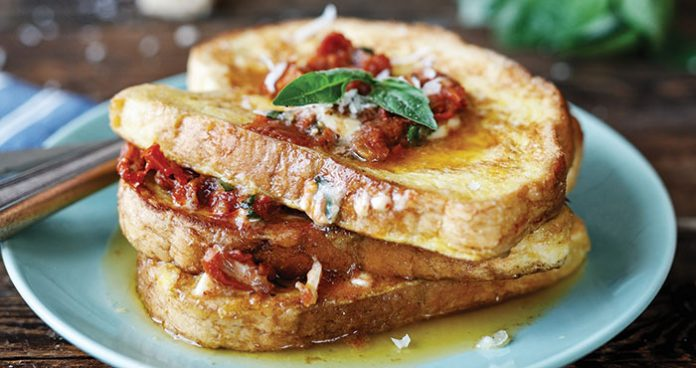 Parmesan French toast with sun-dried tomato and basil butter Easy Food