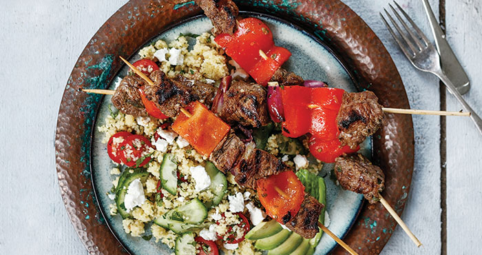 Greek beef skewers with couscous salad Easy Food