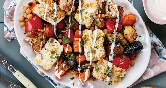 Harissa and Halloumi vegetable traybake Easy Food