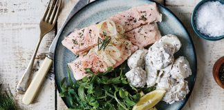 Poached salmon with potato salad Easy Food