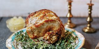 Roast pork and apples with stuffing