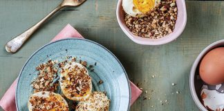 Seared eggs, homemade dukkah