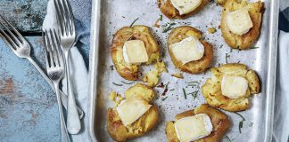 Smashed spuds with gooey Brie and rosemary