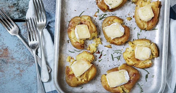 Smashed spuds with gooey Brie and rosemary Easy Food
