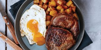 Steak and eggs with smoked paprika potatoes