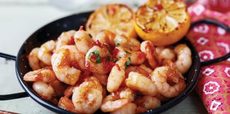 Sticky whiskey chilli prawns Easy Food