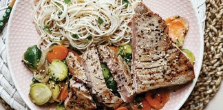 Tuna steaks with sprout stir-fry