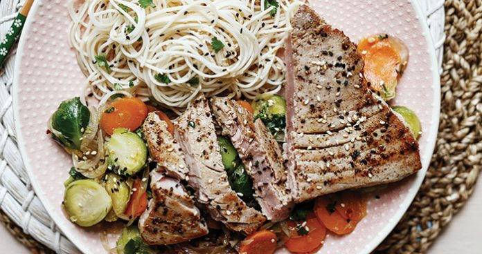 Tuna steaks with sprout stir-fry Easy Food