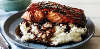 Stout-glazed salmon with garlic chive mash