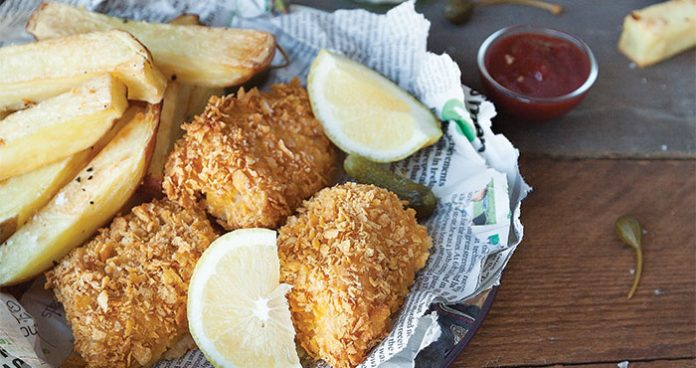 Healthy baked Fish and chips. Easy Food