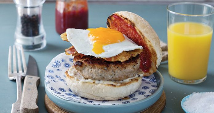 Meat-lovers breakfast bap Easy Food