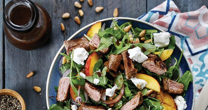 Barbecued lamb and peach salad Easy Food