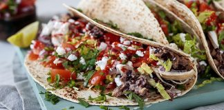 Refried bean chicken tacos