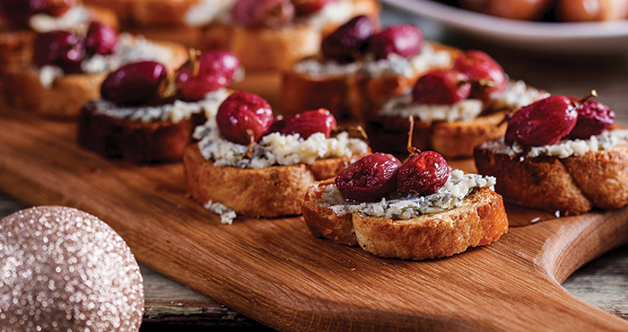 Blue cheese and roasted grape crostini Easy Food