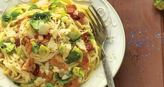 Sprout and pancetta spaghetti Easy Food