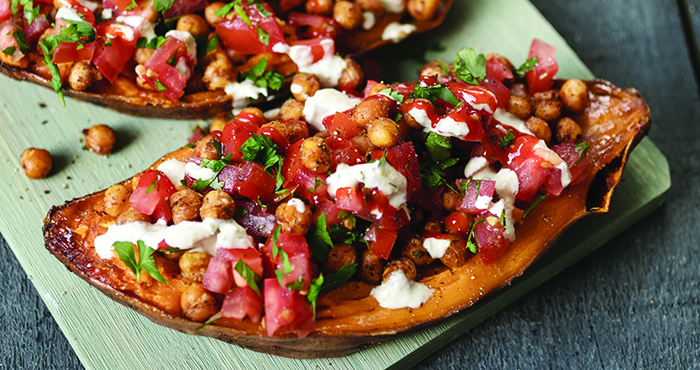 Mediterranean stuffed sweet potatoes with crispy chickpeas