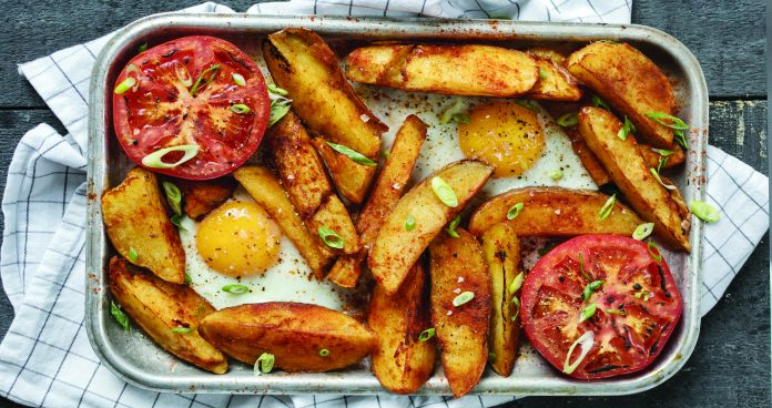 baked egg and chips