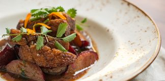 Free range duck, plums, px sherry