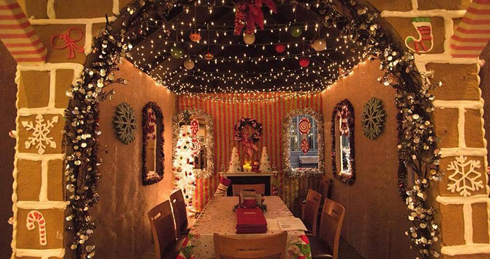 dinner inside a gingerbread house