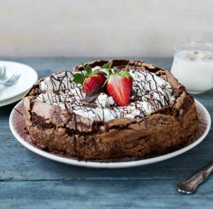 Decadent flourless chocolate coffee cake with Baileys whipped cream Easy Food