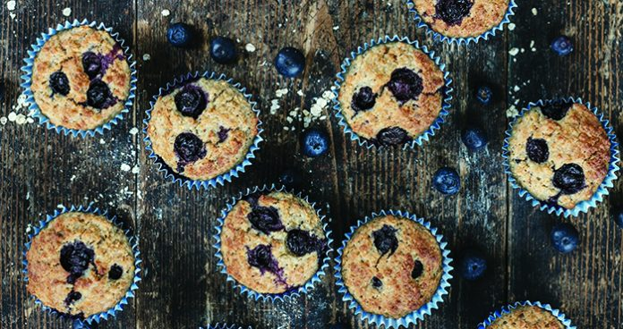 Oatmeal and blueberry breakfast muffins