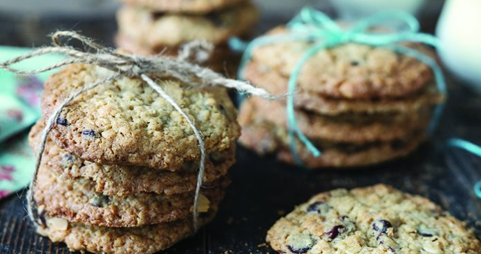 Oatmeal, cranberry and chocolate chip cookies