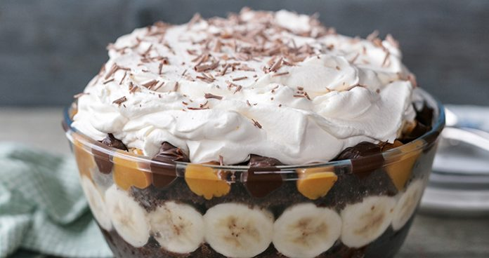 Brownie and salted caramel ice cream trifle
