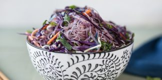Cabbage and egg glass noodle stir-fry